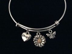 Hope Daisy and Bee Charm Expandable Charm Bracelet Silver Adjustable Wire Bangle Stacking Bangle Trendy