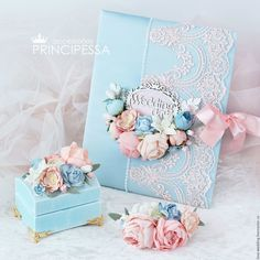 """Купить """"Голубые и розовые цветы"""" свадебный набор - свадьба, голубой, свадебные аксессуары, Аксессуары handmade"""