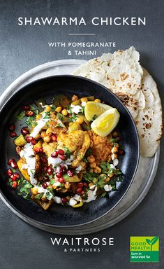 Chicken infused with a mix of spices topped with cooling tahini and crunchy pomegranate seeds. This light meal is ideal for a quick dinner or serve in wraps for a tasty lunch. Tap for the full Waitrose & Partners recipe. Healthy Eating Recipes, Meat Recipes, Indian Food Recipes, Chicken Recipes, Dinner Recipes, Cooking Recipes, Cod Recipes, Carrot Recipes, Noodle Recipes