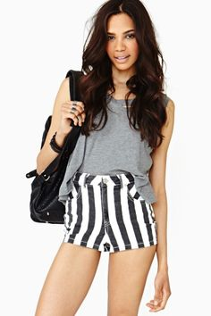 Strokes Denim Shorts by Nasty Gal