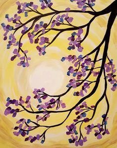 Steps to JACARANDA MORNING By Ashlee Merchant -- Paint the background with yellow in a circle like brushstroke pattern, leaving a blank circle for the sun. Go back to the outer edges of the sun with some white Make the outer edges of the canvas a slight darker yellow by mixing a tiny bit of purple with yellow Paint the branches in black Add the following colors separately for the blossoms Dark Purple, Light blue, Light Purple