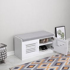 38 Organizing and Storage Items that will Make Your Life Easier - The Trending House Shoe Cabinet Entryway, Shoe Storage Bench Entryway, Shoe Storage Cabinet, Hallway Storage, Bench With Storage, Compact Furniture, Tv Unit Furniture, Entryway Furniture, White Furniture