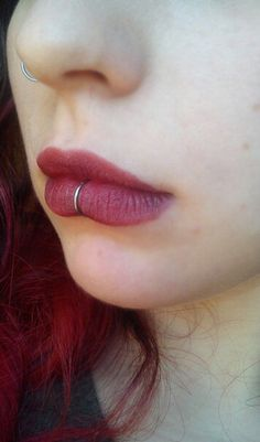 Center Lip Piercing Ring Hoop 16G Segment Ring at MyBodiArt.com - Red Matte Burgundy Makeup Ideas for Lip