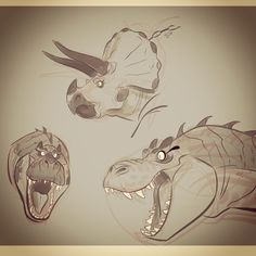 Some rough Dino heads  ★    CHARACTER DESIGN REFERENCES™ (https://www.facebook.com/CharacterDesignReferences & https://www.pinterest.com/characterdesigh) • Love Character Design? Join the #CDChallenge (link→ https://www.facebook.com/groups/CharacterDesignChallenge) Share your unique vision of a theme, promote your art in a community of over 50.000 artists!    ★