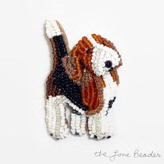 READY TO SHIP: One TINY new beaded Beagle pin pendant! This adorable dog jewelry was created by stitching very tiny glass seed beads to felt (2-3