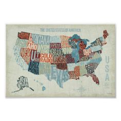 USA Map with States in Words Print - © Michael Mullan / Wild Apple. The image shows a map of the United States with the states written out in a modern way. Every state is written in such a way that it fits in the map.  Designed By wildapple