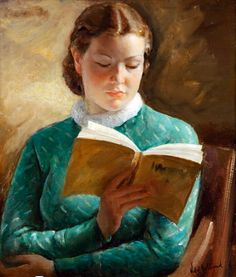 """La lectura. Antonio Vidal Rolland (Spanish, 1889-1970). """"Maybe reading was just a way to make her feel less alone, to keep her company. When you read something you are stopped, the moment is stayed,..."""