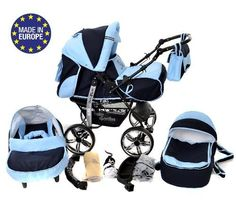 3-in-1 Travel System with Baby Pram, Car Seat, Pushchair & Accessories, Navy-Blue & Blue - http://www.curiositycreates.co.uk/3-in-1-travel-system-with-baby-pram-car-seat-pushchair-accessories-navy-blue-blue/