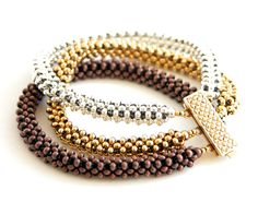 Beading Tutorial - Trinity Metal Bead Bracelet Pattern - Right Angle Weave.