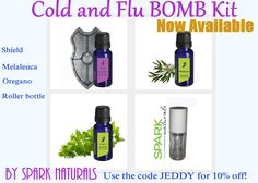 Cold and Flu Bomb Kit. Be prepared this winter for the cold and flu season with Shield, Melaleuca and Oregano. This is a great kit that comes with these three oils and a glass roller bottle. Use the code JEDDY for 10% off your order.
