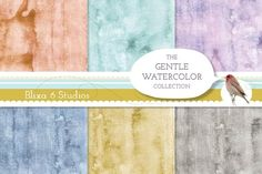 Gentle Watercolor Backgrounds by Blixa 6 Studios on @creativemarket