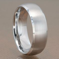 8mm Tungsten Carbide Silver Satin Dome Top Shiny Bevel Edge Men's Wedding Band FlameReflection. $19.99. Includes a custom design Treasure box to hold your new piece of Jewelry!