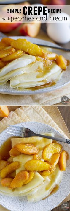Crepes are a piece of cake with this Simple Crepe Recipe with Peaches and Cream! Homemade crepes are filled with a cream cheese mixture and topped with fresh sautéed peaches for a delicious dessert or decadent breakfast. Köstliche Desserts, Delicious Desserts, Dessert Recipes, Yummy Food, Plated Desserts, Easy Crepe Recipe, Crepe Recipes, Easy Recipes, Homemade Crepes