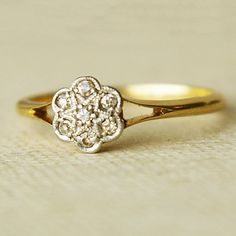 This is so cute and simple! Very nice! Antique Diamond Flower, Platinum & 18k Gold Ring, Vintage Wedding Ring, US 6.25