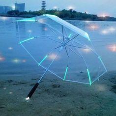 4c2beaca9 New 7 color Changing Color LED Luminous Transparent Umbrella Rain Kids Women