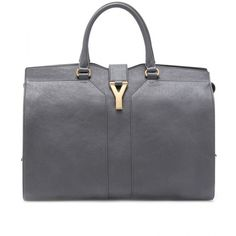 Yves Saint Laurent Large Cabas Chyc East/West Leather Bag ($2,186) ❤ liked on Polyvore