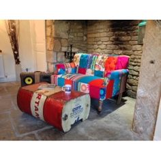 Oil drum  Coffee Table recycled material industrial design reclaimed furniture uk