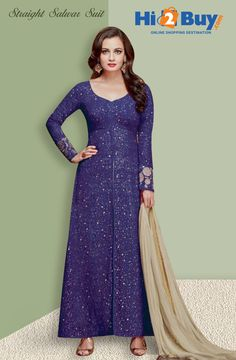 Women's Blue Printed Georgette Straight Suit With Dupatta