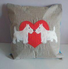 Westie Dog Cushion Cover 40cm x 40cm Felt and by MiowandMolly, £12.00