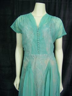Vintage 1940s dress Large DuBarry seafoam green lace and chiffon dress Curvy Larger size. $99.00, via Etsy.