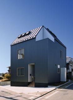 玄関横に坪庭を設け,坪庭回りの外壁をシルバーのガルバリウムを施工した外観(7人家族の家)- 外観事例|SUVACO(スバコ)