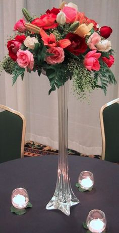 Tall Tower Vases Centerpiece, White, Clear, Black, 12,16,20,24,28,32-Inch