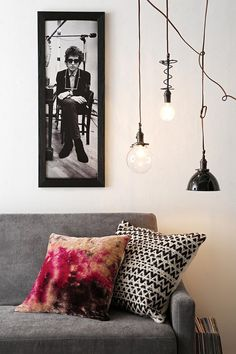 Bob Dylan Framed Wall Art and a bold pillow to match #designway loves it!