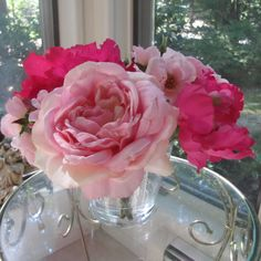 Beautiful silk flower pink peony arrangement