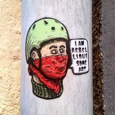 This little gem caught my eye. I really like the illustration style #iamsomeart #stickers #streetart #greekstreetart