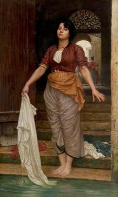 In a Street in Venice, Valentine Cameron Prinsep   (Calcutta 14 February 1838 – 11 November 1904 London)  British painter of the Pre-Raphaelite school. He is often known as Val Prinsep.