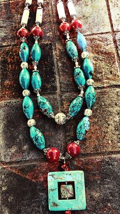 Cowgirl turquoise and stone necklace