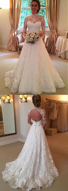 Romantic Tulle & Lace Illusion High Collar A-Line Wedding Dress With Lace Appliques & Belt