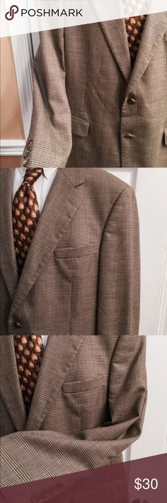 "Brooks Brothers brown plaid gingham worsted Wool Brooks Brothers Mens Blazer Size 42R 2 button front  4 button sleeves  100% worsted wool Khaki Green Brown Excellent Condition  Chest about 23"" across Waist about 22"" across  Sleeves about 24"" Shoulders about 19.5"" Length about 32.5"" Vent about 10"" Brooks Brothers Suits & Blazers Sport Coats & Blazers"