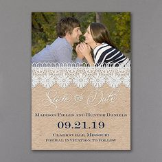Romantic Lace - Save the Date Card      |  40% OFF  |  http://mediaplus.carlsoncraft.com/Wedding/Save-the-Dates/3159-VZP37497WH-Romantic-Lace--Save-the-Date-Card.pro