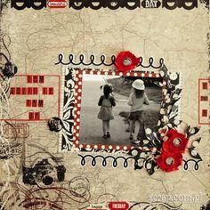 Wzruszający scrap o siostrzanej miłości. Użyte produkty LM: papierowe kwiatki czerwone, ćwieki kryształki dymne, ćwieki stare srebro, kolekcja zauroczenie