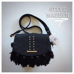 Black Boho Saddle Bag w/Leather Fringe Leather Fringe ~ NWT.  Black Boho Saddle Bag approx 8.25w X 10.5h and long  adjustable strap.  Also available in cognac! Steve Madden Bags Crossbody Bags