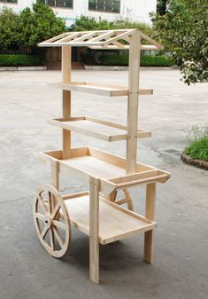 x x Wooden Vendor Cart w/ 3 Shelves - Pine 19402 : Cart Display Woodworking Toys, Woodworking Projects Plans, Woodworking Guide, Vendor Cart, Wooden Cart, Craft Booth Displays, Flower Cart, Deco Nature, Wood Toys