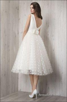 111 elegant tea length wedding dresses vintage (89)