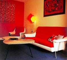 bold colours in the mid century living room