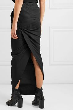 Black cotton-jersey Slips on cotton Hand wash Made in Italy Jersey Maxi Skirts, Pencil Skirt Work, Ann Demeulemeester, Rick Owens, Black Cotton, Sewing, My Style, How To Wear, Dresses