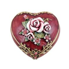 Victorian Rose Jewelry Box   Heart Shaped Red