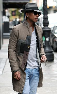 Pharrell Williams, 'Hobo' Patchwork Coat, Grey Fedora, and Jeans. Men's Early Fall Winter Fashion.