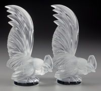 A Pair of Lalique Clear and Frosted Glass COQ NAIN Mascots, 20th century Marks to... (Total: 2)