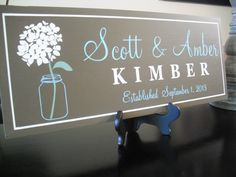Mason Jar Wedding Sign Decoration Personalized Family by GaroSigns, $32.99