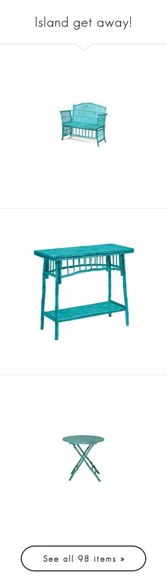"""""""Island get away!"""" by shainalrp ❤ liked on Polyvore featuring home, furniture, tables, accent tables, turquoise table, turquoise accent table, turquoise console table, vintage furniture, vintage table and storage & shelves"""