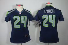 Customize Women Nike Seattle Seahawks 24# Marshawn Lynch Blue NFL LIMITED Jerseys