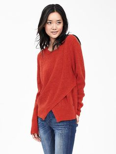 Great cut and color. It says Orange but looks like a nice blood orange … Cutout-Front Crew Pullover  I like this for a casual sweater.