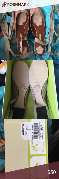 Max Studio Aphrodite Shoes A brand new pair of Max Studio Slip on ballerina shoes with laces that can wrap around the ankles for a perfect feminine look. Will ship with original box. Please feel free to ask questions Max Studio Shoes Flats & Loafers
