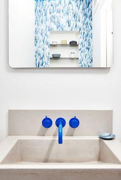 cobalt blue bathroom faucet