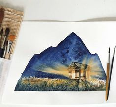 "An illuminating #watercolor #nature #illustration by @jj_illus entitled ""Mountain Shelter."" I love how the faint glow of the Milky Way between the individual brighter stars transforms the night sky from a midnight blue to a pale cerulean and how the light piercing the walls and windows of the cabin bask the meadow in a golden gleam.  You wouldn't know it from how AWESOME it looks but JJ found the lighting effect to be a bit of a challenge. I find it to be inspiring how she was able to…"